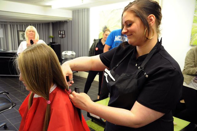 Three year old adriana smith gets first haircut for charity for A little off the top salon
