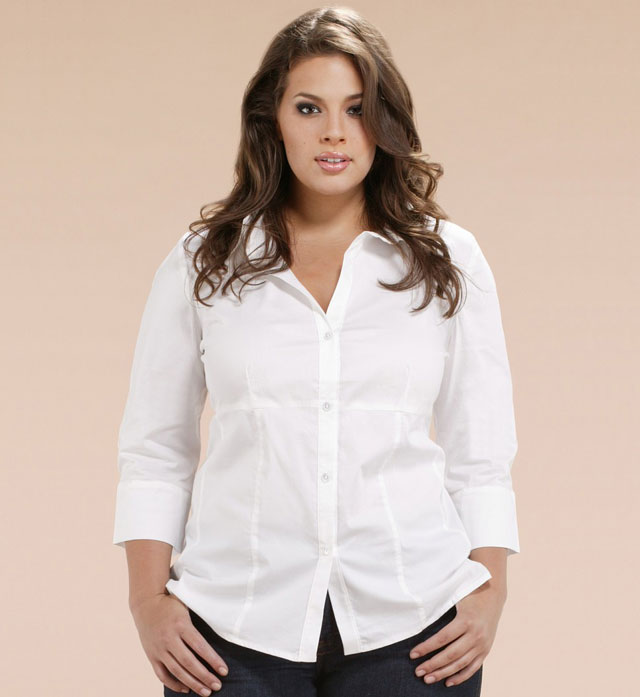 White-Button-Down-Shirt Size Modeling
