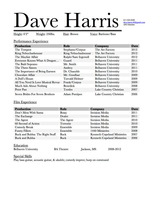 dave harris acting resume